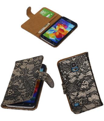 Lace Zwart Samsung Galaxy S5 (Plus) Book/Wallet Case Hoesje