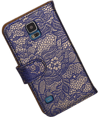Lace Blauw Hoesje voor Samsung Galaxy S5 (Plus) Book/Wallet Case