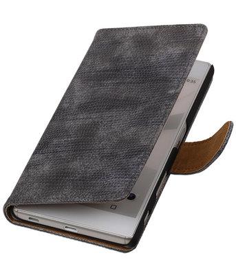 Hoesje voor Sony Xperia Z5 - Booktype Wallet Mini Slang Grijs
