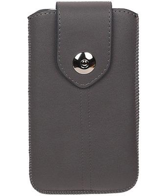 LG Bello II - Luxe Leder look insteekhoes/pouch - Grijs M