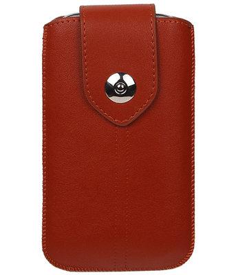LG Bello II - Luxe Leder look insteekhoes/pouch - Bruin M