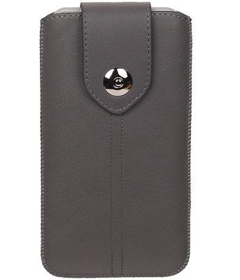 LG Nexus 5X - Luxe Leder look insteekhoes/pouch - Grijs L