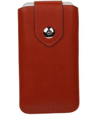 Motorola Moto X Style - Luxe Leder look insteekhoes/pouch - Bruin L