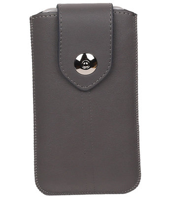 Sony Xperia Z5 Compact - Luxe Leder look insteekhoes/pouch - Grijs S