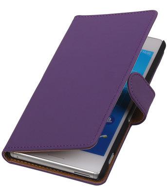 Hoesje voor Sony Xperia M4 Aqua Effen Booktype Wallet Paars