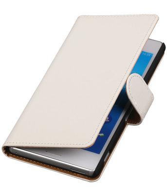 Hoesje voor Sony Xperia M4 Aqua Effen Booktype Wallet Wit