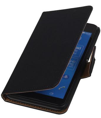 Sony Xperia E4g Effen Booktype Wallet Hoesje Zwart