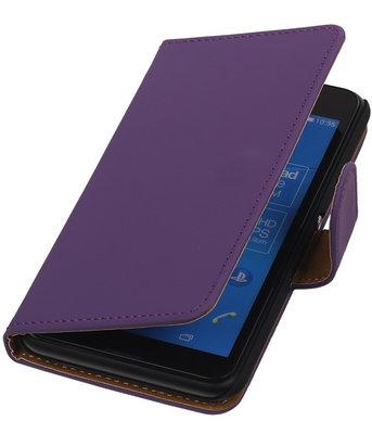 Hoesje voor Sony Xperia E4g Effen Booktype Wallet Paars