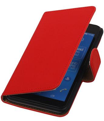 Sony Xperia E4g Effen Booktype Wallet Hoesje Rood