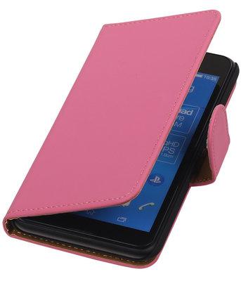 Sony Xperia E4g Effen Booktype Wallet Hoesje Roze