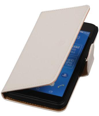 Hoesje voor Sony Xperia E4g Effen Booktype Wallet Wit