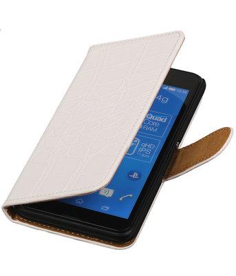 Hoesje voor Sony Xperia E4g Krokodil Booktype Wallet Wit