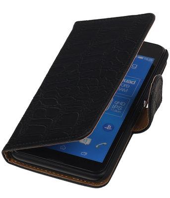Sony Xperia E4g Krokodil Booktype Wallet Hoesje Zwart