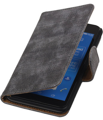 Sony Xperia E4g Booktype Wallet Hoesje Mini Slang Grijs