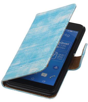 Sony Xperia E4g Booktype Wallet Hoesje Mini Slang Blauw