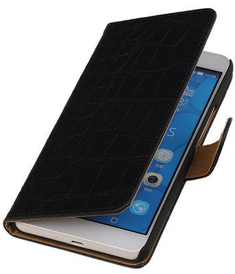Apple iPhone 4/4s - Croco Zwart Bookstyle Hoesje