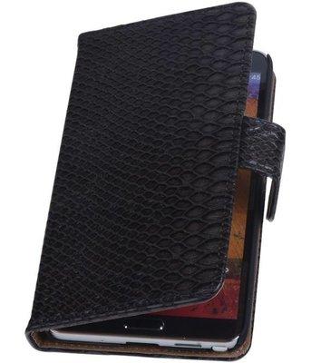 Hoesje voor Apple iPhone 4/4s - Slang Zwart Bookstyle Wallet