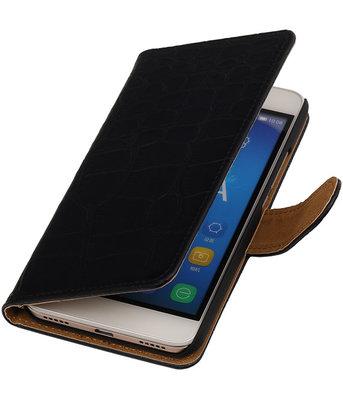 Hoesje voor Huawei Honor Y6 / 4A - Croco Booktype Wallet Zwart