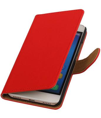Hoesje voor Huawei Honor Y6 - Effen Booktype Wallet Rood