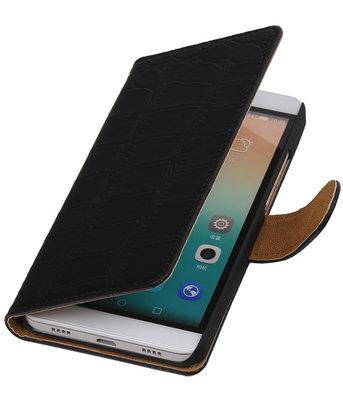 Hoesje voor Huawei Honor 7i - Croco Booktype Wallet Zwart