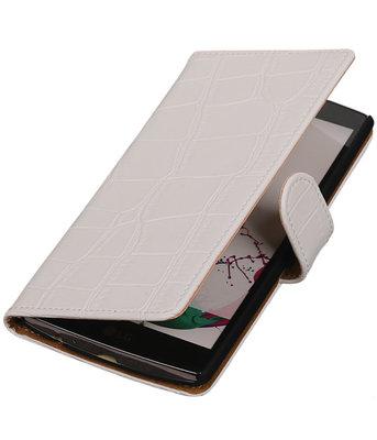 Hoesje voor LG Nexus 5X - Croco Wit Booktype Wallet