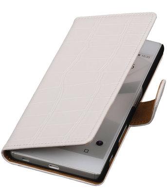 Hoesje voor Sony Xperia C5 Ultra - Croco Wit Booktype Wallet