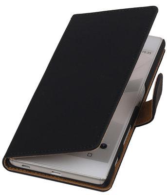 Hoesje voor Sony Xperia C5 Ultra - Effen Zwart Booktype Wallet