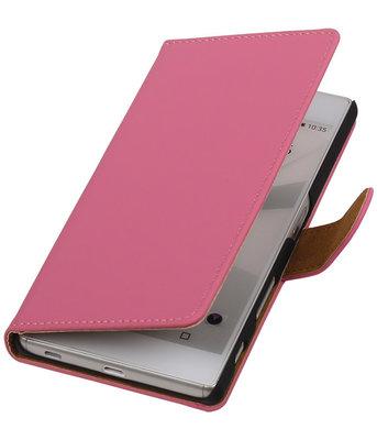 Hoesje voor Sony Xperia C5 Ultra - Effen Roze Booktype Wallet
