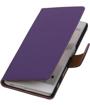 Hoesje voor Sony Xperia C5 Ultra - Effen Paars Booktype Wallet