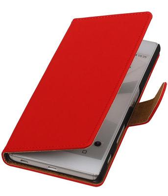 Hoesje voor Sony Xperia C5 Ultra - Effen Rood Booktype Wallet
