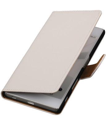 Hoesje voor Sony Xperia C5 Ultra - Effen Wit Booktype Wallet
