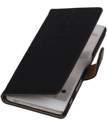 Hoesje voor Sony Xperia M5 - Croco Zwart Booktype Wallet