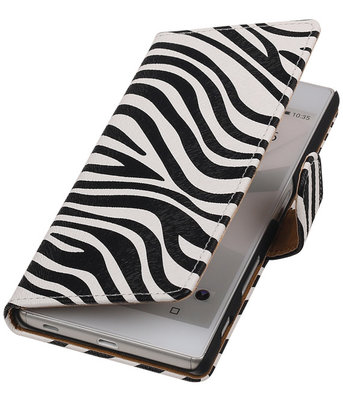 Hoesje voor Sony Xperia M5- Zebra Booktype Wallet