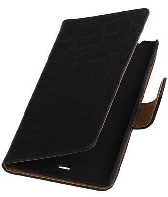 Hoesje voor Microsoft Lumia 540 Croco Booktype Wallet Zwart