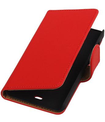Microsoft Lumia 430 Effen Booktype Wallet Hoesje Rood