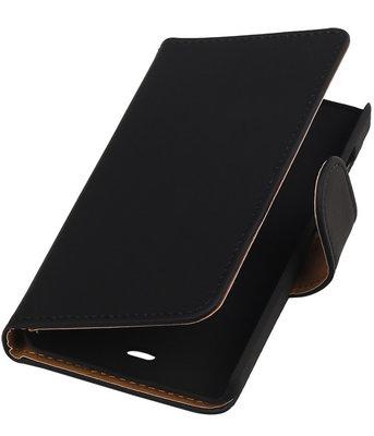 Microsoft Lumia 430 Effen Booktype Wallet Hoesje Zwart