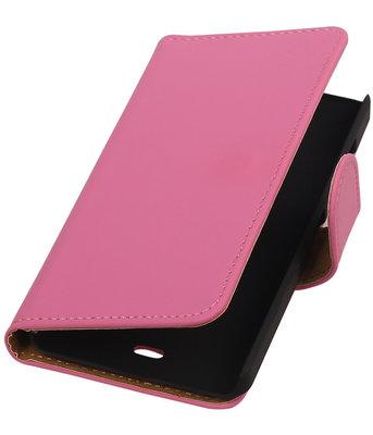 Microsoft Lumia 430 Effen Booktype Wallet Hoesje Roze
