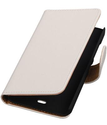 Microsoft Lumia 430 Effen Booktype Wallet Hoesje Wit
