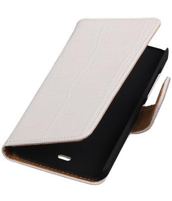 Microsoft Lumia 430 Croco Booktype Wallet Hoesje Wit