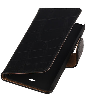 Microsoft Lumia 430 Croco Booktype Wallet Hoesje Zwart