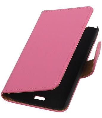 Hoesje voor Huawei Ascend Y360 Effen Booktype Wallet Roze