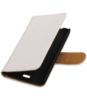 Huawei Ascend Y360 Croco Booktype Wallet Hoesje Wit