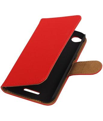 HTC Desire 320 Effen Booktype Wallet Hoesje Rood