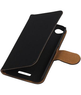 HTC Desire 320 Effen Booktype Wallet Hoesje Zwart