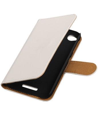 HTC Desire 320 Effen Booktype Wallet Hoesje Wit