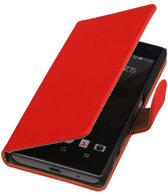 Sony Xperia Z5 Compact - Effen Rood Booktype Wallet Hoesje