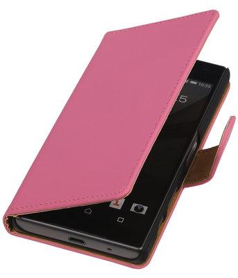 Hoesje voor Sony Xperia Z5 Compact - Effen Roze Booktype Wallet