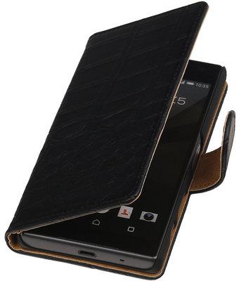 Hoesje voor Sony Xperia Z5 Compact - Croco Zwart Booktype Wallet