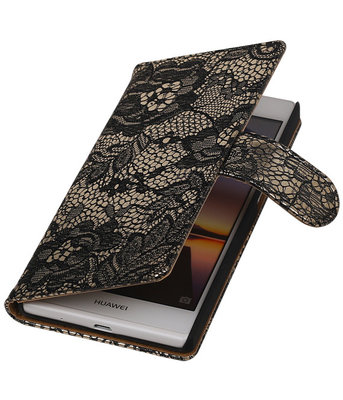 Hoesje voor Huawei Ascend P7 - Lace Zwart Booktype Wallet