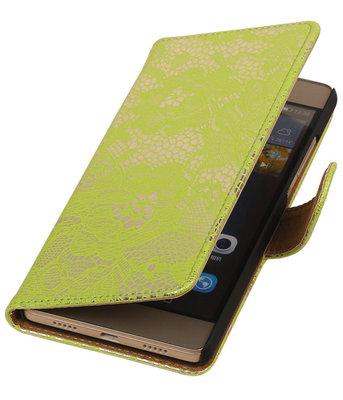 Hoesje voor Huawei Ascend P7 - Lace Groen Booktype Wallet
